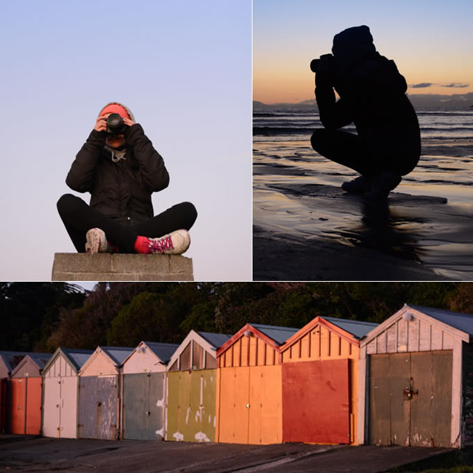 Porirua Photographer, Luke Pilkinton-Ching taking photos at Titahi Bay, Wellington